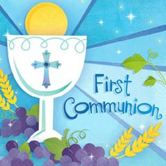 First Communion Blue Beverage Napkins