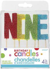 "09 ""N-I-N-E"" Glitter Multi-Color Birthday Candles"