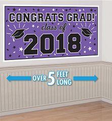 """2018"" Purple Grad 2018 Horizontal Banner"