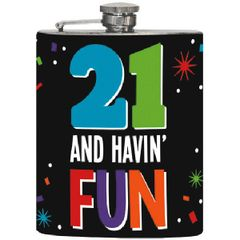 21st Brilliant Birthday Flask