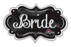 Bride Chalkboard Marquee Super Shape Balloon 34""