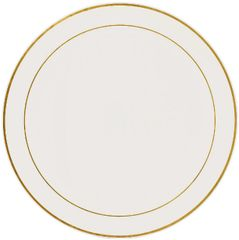 "Gold Trimmed Cream Plastic Platter, 16"""