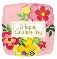 "Happy Flowery Anniversary Balloon 18"""