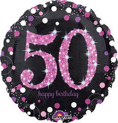 "Pink Sparkling 50th Birthday Celebration Balloon 18"""