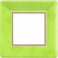 Avocado Green Border Square Plates, 10""