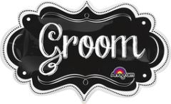 Groom Chalkboard Marquee Super Shape Balloon 34""