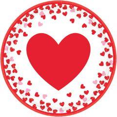 """Confetti Hearts Round Plates, 7"""""""