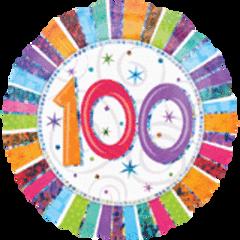 "Radiant 100th Birthday Balloon 18"""