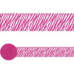 Bright Pink Zebra Printed Crepe Streamer