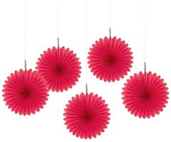 Red Mini Hanging Fan Decorations, 5ct