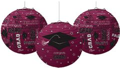 Berry Graduation Printed Lanterns, 3ct