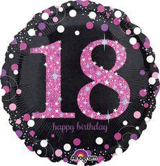"Pink Sparkling 18th Birthday Celebration Balloon 18"""