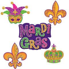 Mardi Gras Mini Glitter Paper Cutouts 10ct
