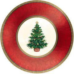 "Classic Christmas Tree Metallic Plates, 12"""