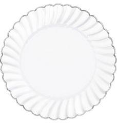 "White & Silver Premium Plastic Scalloped Dinner Plates, 10"" - 10ct"