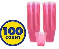 Big Party Pack Bright Pink Plastic Shot Glasses, 100ct