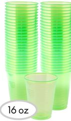 Big Party Pack Black Light Neon Green Plastic Cups, 50ct