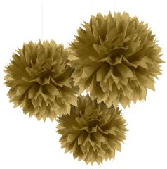Gold Fluffy Paper Decorations, 3ct