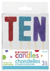 "10 ""T-E-N"" Glitter Multi-Color Birthday Candles"