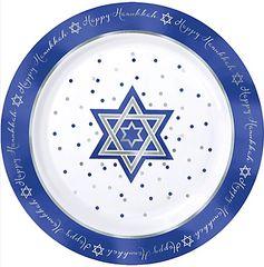 """Hanukkah Premium Plastic Round Plates, 10 1/4"""""""