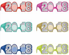 """2018"" New Year's Glitter Glasses Multi Pack - Jewel Tone"