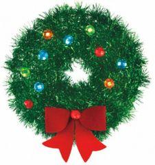 Mini Tinsel Wreath w/Bow