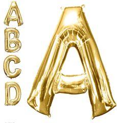 "Gold Letter A - 34"" Mylar Balloon"