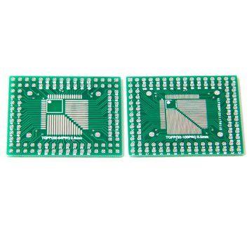 2Pcs of QFP/TQFP/LQFP/FQFP 32/44/64/80/100 to DIP Adapter PCB Board Converter