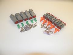5 sets GRAY Deutsch DT 4-Pin Connectors 16-18 ga AWG Solid Contacts
