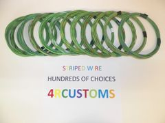 18 gauge GXL wire - Individual Light Green Striped Color and Size Options