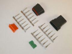 12X Black Deutch DT Series Connector Set 14-16-18 STAMPED Nickel Terminals