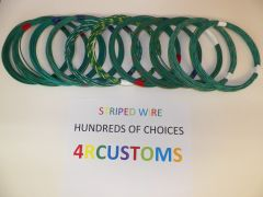 18 gauge GXL wire - Individual Green Striped Color and Size Options