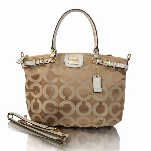 Ladies Coach Khaki & Multicolor Signature Canvas Satchel