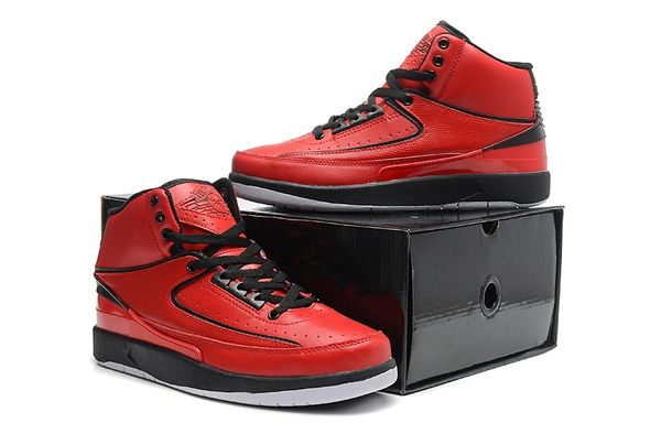 "Air Jordan 2 (II) Retro ""Custom Engraved"" Red/Black/White Sneaker"
