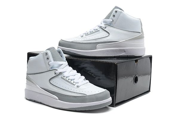 "Air Jordan 2 (II) Retro ""Custom Original Engraved"" White/Silver Sneaker"
