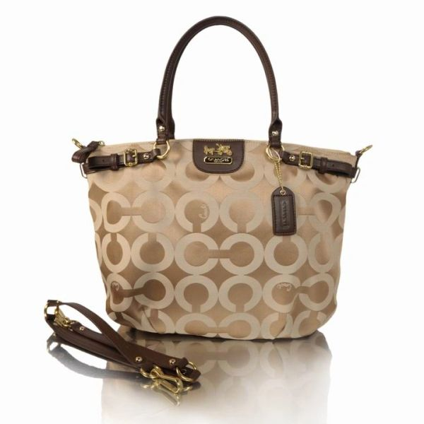 Ladies Coach Khaki & Coffee Signature Canvas Satchel