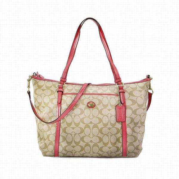 Ladies Coach Red In Signature Coated Canvas Bag
