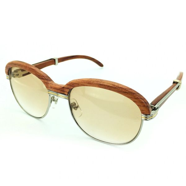 Unisex Silver Brown Cartier Malmaison Palisander Rosewood Glasses (Special Edition) (Free Express Shipping)