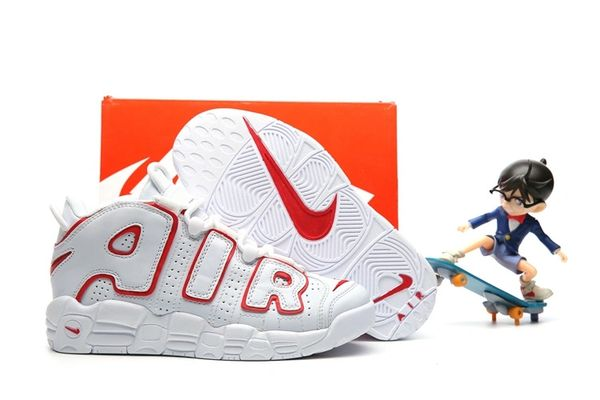 Nike Air More Uptempo White/Red Trim Little Kids' Shoe