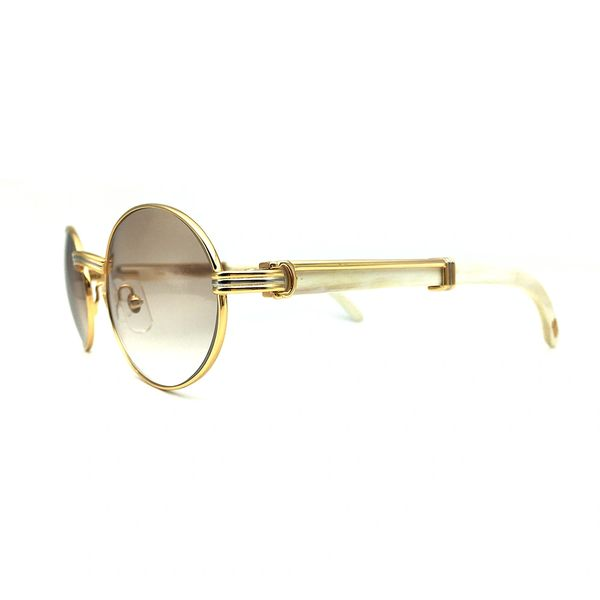 Unisex Cartier Gold Metal White Buffs Sunglasses Catalog 19 (Free 3-5 Day Shipping)