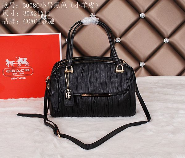 Ladies Coach Royal Black Leather Satchel 30086