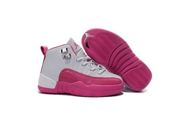 "Air Jordan Retro 12 Pink/White Little Kids' Shoe ""Valentines Day"""