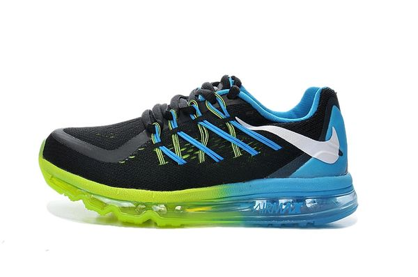 "KIDS Nike Air Max 2015 (GS) Black/Lime/Blue Running Shoe ""Preschool"""