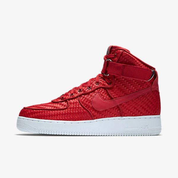 Men's Nike Air Force 1 High LV8 Woven Gym Red & Gum Light Brown Sneakers