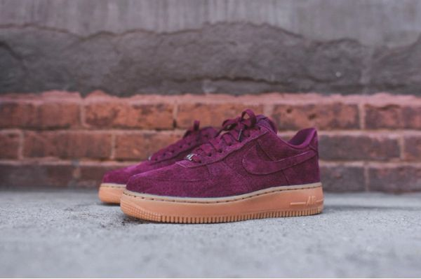 Ladies Nike Air Force 1 07 Low Suede Maroon Gum Sneakers