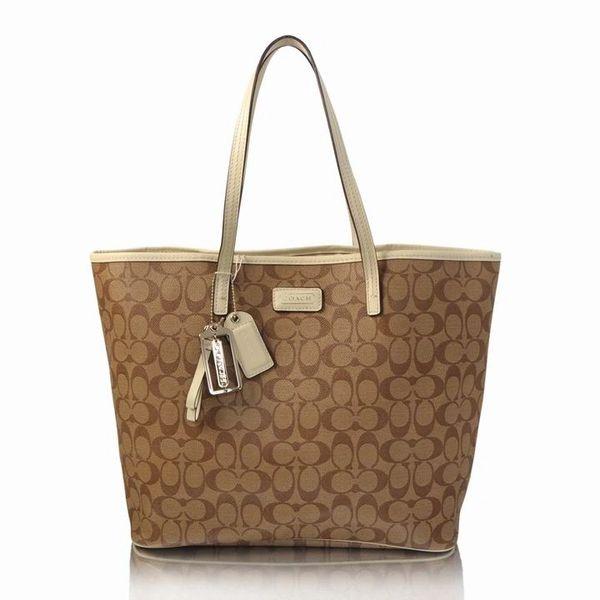Ladies Coach Signature Canvas Tote Bag 27393