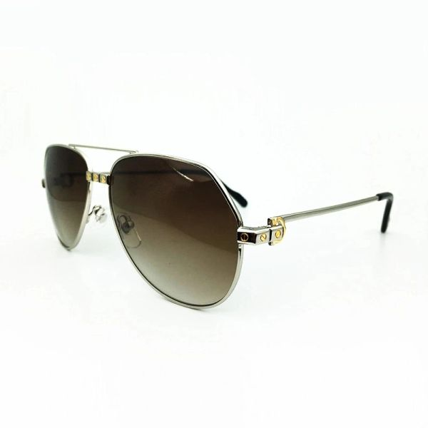 Unisex Silver Brown Cartier Metal Aviator Sunglasses Catalog 20C (Free Express Shipping)