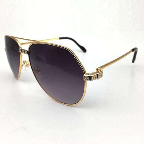 Unisex Gold Grey Cartier Metal Aviator Sunglasses Catalog 20D (Free Express Shipping)