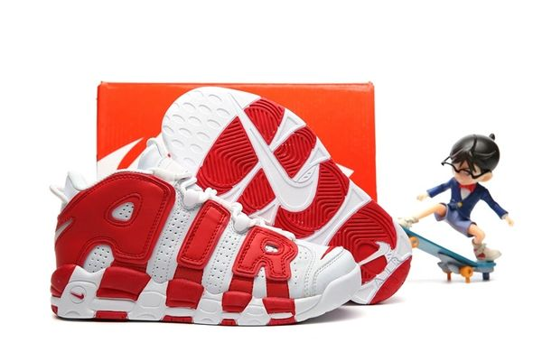 Nike Air More Uptempo White/Gym Red Little Kids' Shoe
