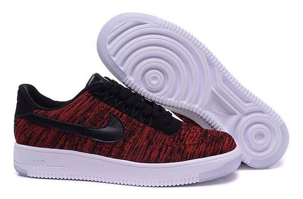 Ladies Nike Air Force 1 Ultra Flyknit Low Black/Team Red/Clear Jade/Black Sneakers